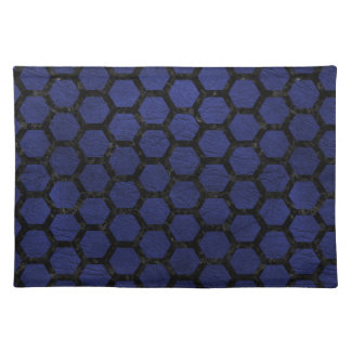 HEXAGON2 BLACK MARBLE & BLUE LEATHER (R) PLACEMAT