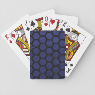 HEXAGON2 BLACK MARBLE & BLUE LEATHER (R) PLAYING CARDS