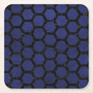 HEXAGON2 BLACK MARBLE & BLUE LEATHER (R) SQUARE PAPER COASTER