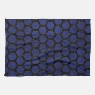 HEXAGON2 BLACK MARBLE & BLUE LEATHER (R) TEA TOWEL