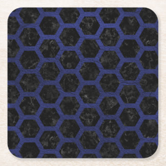 HEXAGON2 BLACK MARBLE & BLUE LEATHER SQUARE PAPER COASTER