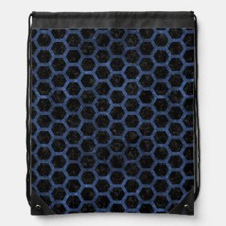 HEXAGON2 BLACK MARBLE & BLUE STONE DRAWSTRING BAG