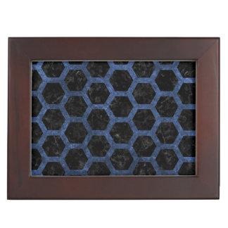 HEXAGON2 BLACK MARBLE & BLUE STONE KEEPSAKE BOX