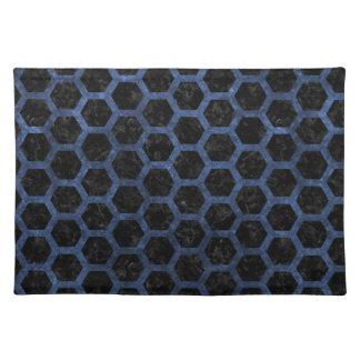 HEXAGON2 BLACK MARBLE & BLUE STONE PLACE MAT