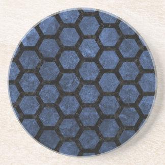 HEXAGON2 BLACK MARBLE & BLUE STONE (R) COASTER