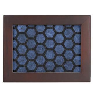 HEXAGON2 BLACK MARBLE & BLUE STONE (R) KEEPSAKE BOX