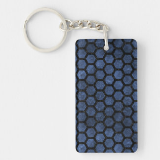 HEXAGON2 BLACK MARBLE & BLUE STONE (R) KEY RING