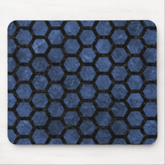 HEXAGON2 BLACK MARBLE & BLUE STONE (R) MOUSE PAD