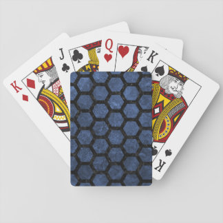 HEXAGON2 BLACK MARBLE & BLUE STONE (R) PLAYING CARDS