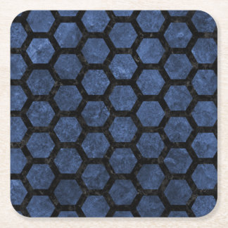 HEXAGON2 BLACK MARBLE & BLUE STONE (R) SQUARE PAPER COASTER