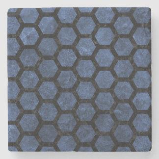 HEXAGON2 BLACK MARBLE & BLUE STONE (R) STONE COASTER