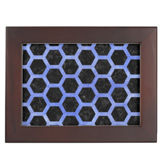HEXAGON2 BLACK MARBLE & BLUE WATERCOLOR KEEPSAKE BOX