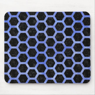 HEXAGON2 BLACK MARBLE & BLUE WATERCOLOR MOUSE PAD