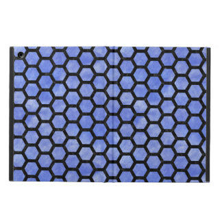 HEXAGON2 BLACK MARBLE & BLUE WATERCOLOR (R) COVER FOR iPad AIR