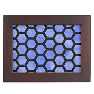 HEXAGON2 BLACK MARBLE & BLUE WATERCOLOR (R) KEEPSAKE BOX