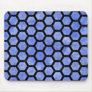 HEXAGON2 BLACK MARBLE & BLUE WATERCOLOR (R) MOUSE PAD
