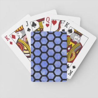 HEXAGON2 BLACK MARBLE & BLUE WATERCOLOR (R) PLAYING CARDS