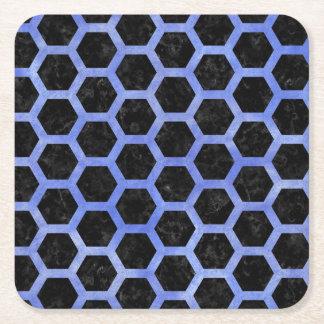 HEXAGON2 BLACK MARBLE & BLUE WATERCOLOR SQUARE PAPER COASTER
