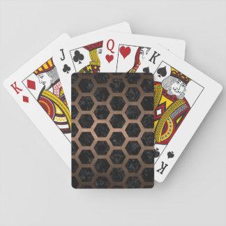 HEXAGON2 BLACK MARBLE & BRONZE METAL PLAYING CARDS