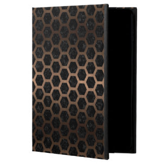 HEXAGON2 BLACK MARBLE & BRONZE METAL POWIS iPad AIR 2 CASE