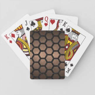 HEXAGON2 BLACK MARBLE & BRONZE METAL (R) PLAYING CARDS