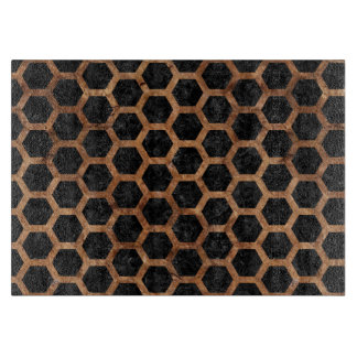 HEXAGON2 BLACK MARBLE & BROWN STONE CUTTING BOARD