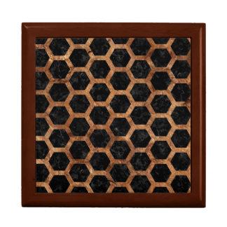 HEXAGON2 BLACK MARBLE & BROWN STONE GIFT BOX