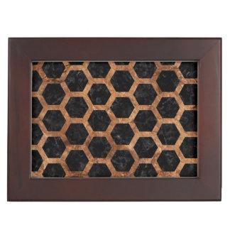 HEXAGON2 BLACK MARBLE & BROWN STONE KEEPSAKE BOX