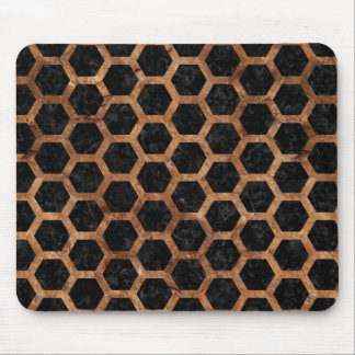HEXAGON2 BLACK MARBLE & BROWN STONE MOUSE PAD