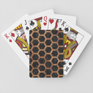 HEXAGON2 BLACK MARBLE & BROWN STONE PLAYING CARDS