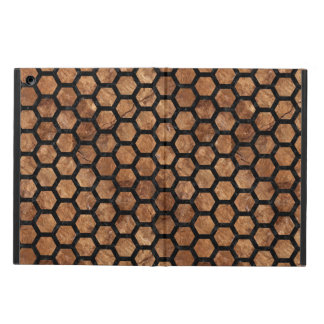 HEXAGON2 BLACK MARBLE & BROWN STONE (R) COVER FOR iPad AIR