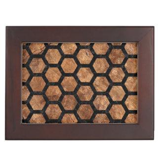 HEXAGON2 BLACK MARBLE & BROWN STONE (R) KEEPSAKE BOX