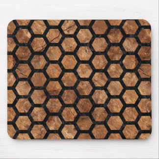 HEXAGON2 BLACK MARBLE & BROWN STONE (R) MOUSE PAD