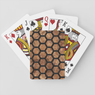 HEXAGON2 BLACK MARBLE & BROWN STONE (R) PLAYING CARDS