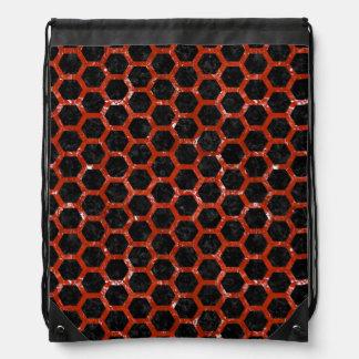 HEXAGON2 BLACK MARBLE & RED MARBLE DRAWSTRING BAG