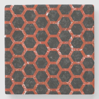 HEXAGON2 BLACK MARBLE & RED MARBLE STONE COASTER
