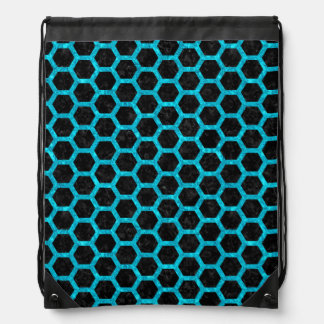 HEXAGON2 BLACK MARBLE & TURQUOISE MARBLE DRAWSTRING BAG