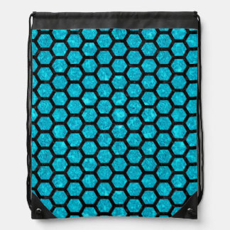 HEXAGON2 BLACK MARBLE & TURQUOISE MARBLE (R) DRAWSTRING BAG