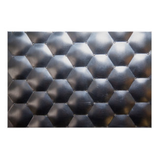 Hexagon 3D Effect - Metal Pattern Texture - Poster