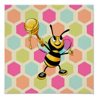 Hexagon Background with Honey Bee Poster