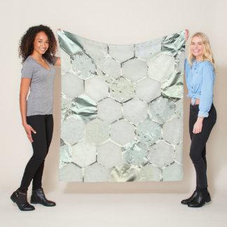 Hexagon Marble Stone Metallic Mint Aqua White Gray Fleece Blanket