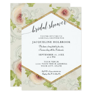 Hexagon Modern Calligraphy Floral Bridal Shower Card