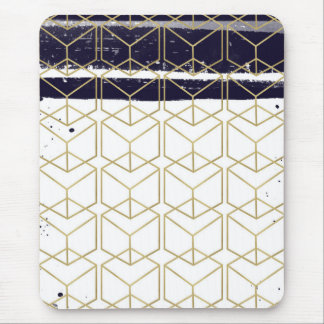 Hexagon Modern Navy Blue Gold Geometric Glam Mouse Pad