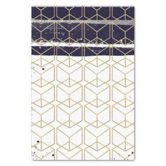 Hexagon Modern Navy Blue Gold Geometric Wedding Tissue Paper