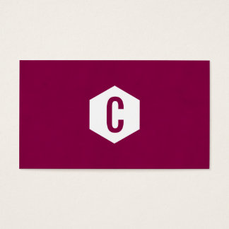 Hexagon monogram dark pink business cards