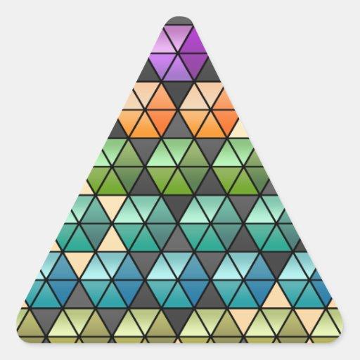 Hexagon Quilt (Warm Rainbow) Triangle Stickers