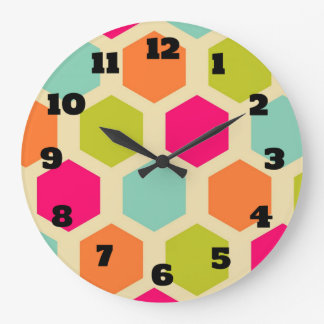 Hexagon Shapes in Vintage Colors Pattern Large Clock