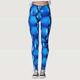 Hexagonal blue bubble textured background leggings