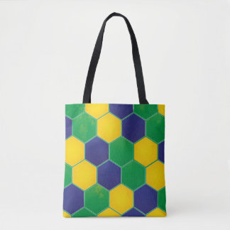 Hexagonal Brazil Design Tote Bag