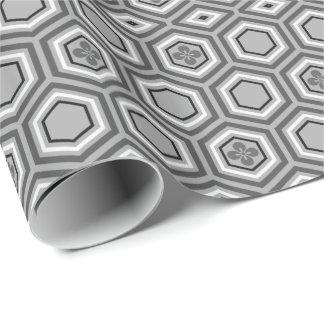 Hexagonal Kimono Print, Gray / Grey and White Wrapping Paper